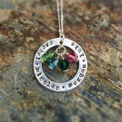 "1.25"" Circle with Birthstones"