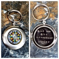 Compass Locket Keychain